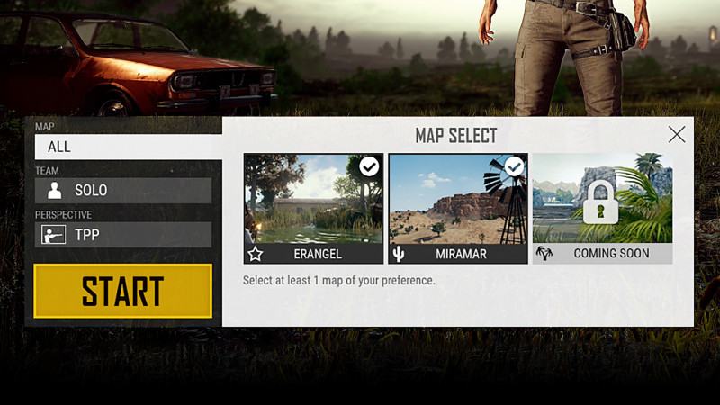 pubg map selection not working