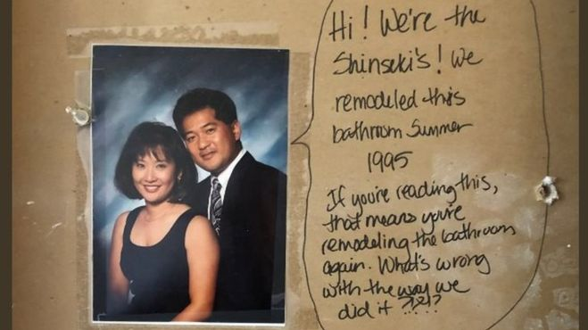 Couple Finds A 23-Year-Old Message On Their Bathroom Wall While Decorating