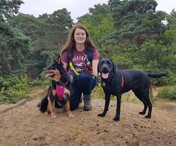 Megan Taylor with Ruby and Rowley who are Disability Assistance Dogs. Credit: Liverpool Echo