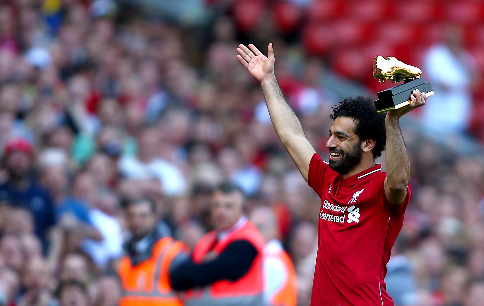 Salah with his Premier League Golden Boot award. Image: PA