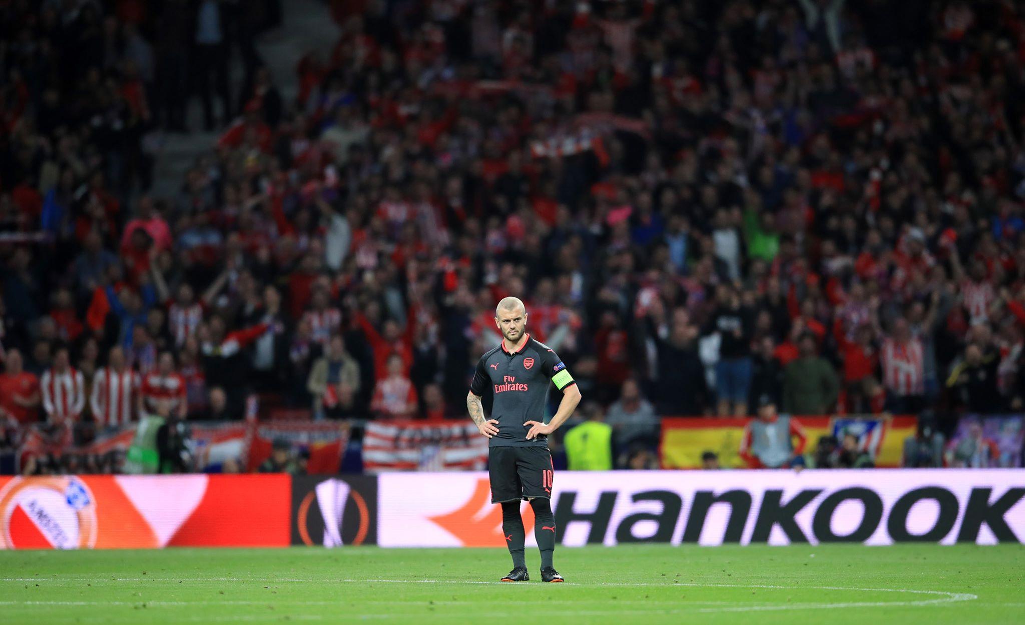 Wilshere cuts a dejected figure during the Europa League semi-final. Image: PA