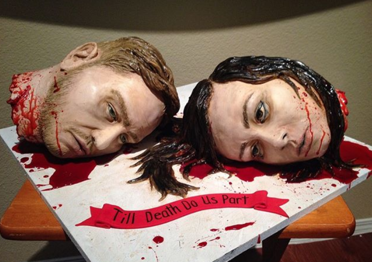 Natalie and Dave's unique wedding cake. Credit: Instagram/Sideserf Cake Studio