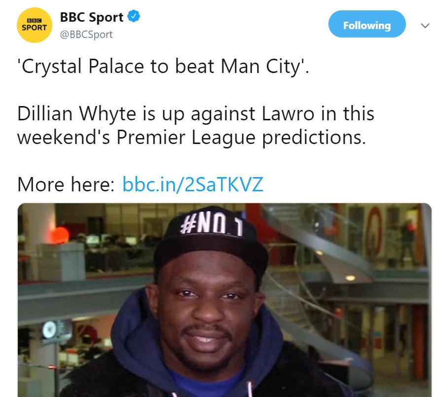 Dillian Whyte con la predicción de toda la vida. Imagen: BBC Sport