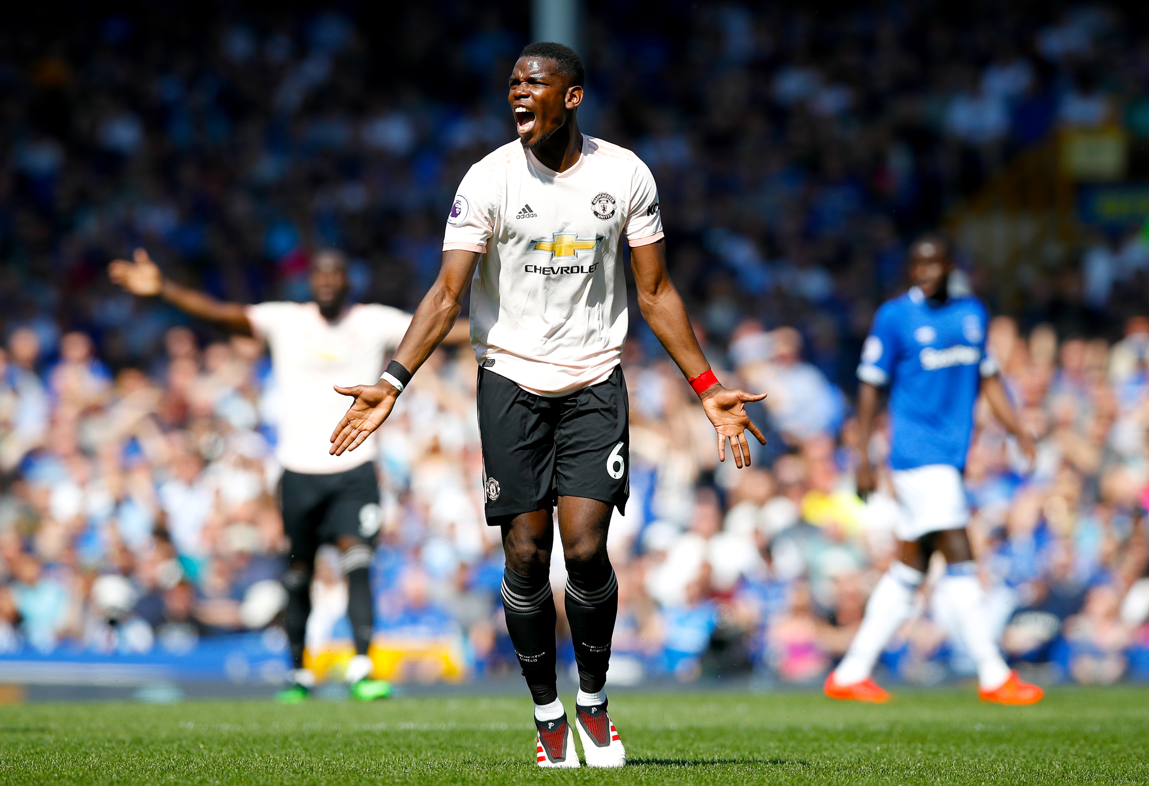 Pogba cuts a frustrated figure at Goodison Park. Image: PA Images