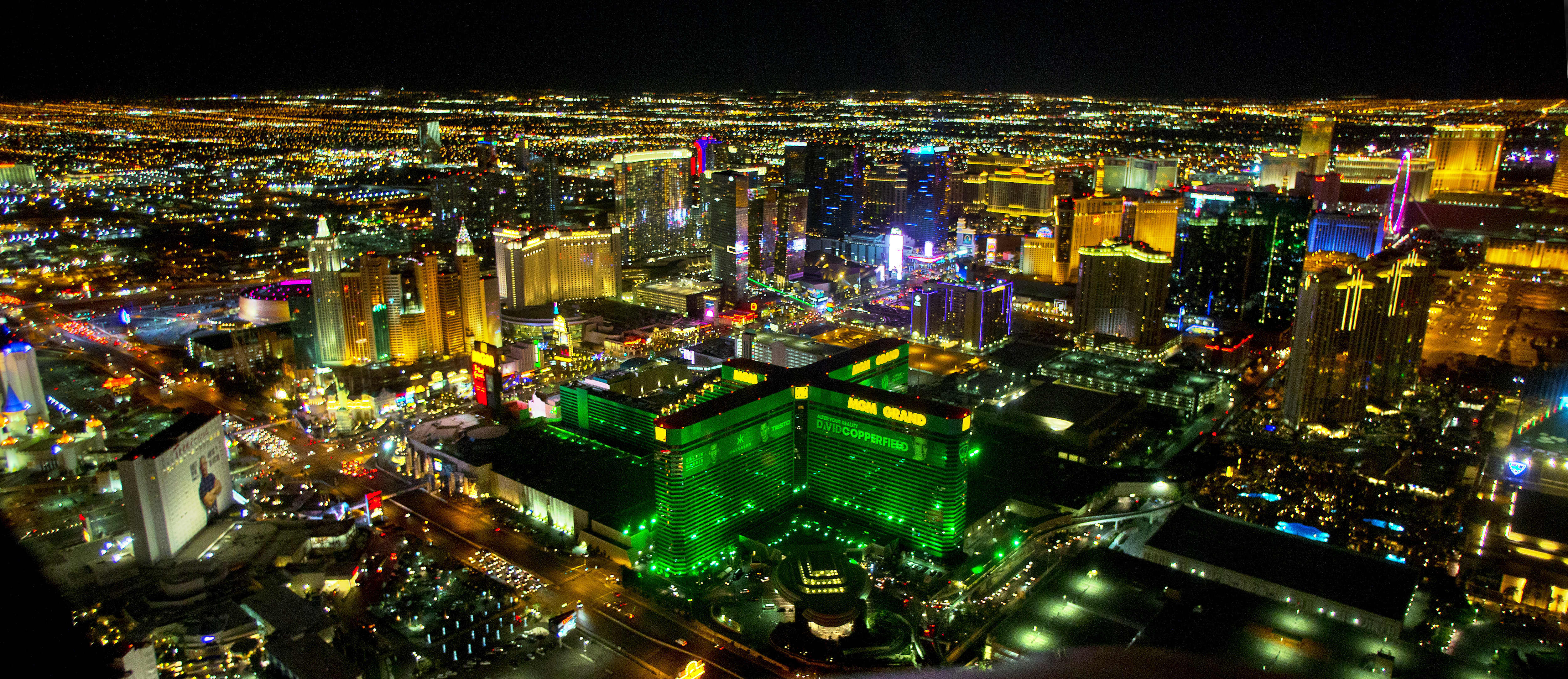 A night-time view of Las Vegas. Credit: PA