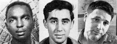 Killen's victims from left to right: James Chaney, Andrew Goodman, Michael Schwerner. Credit: FBI