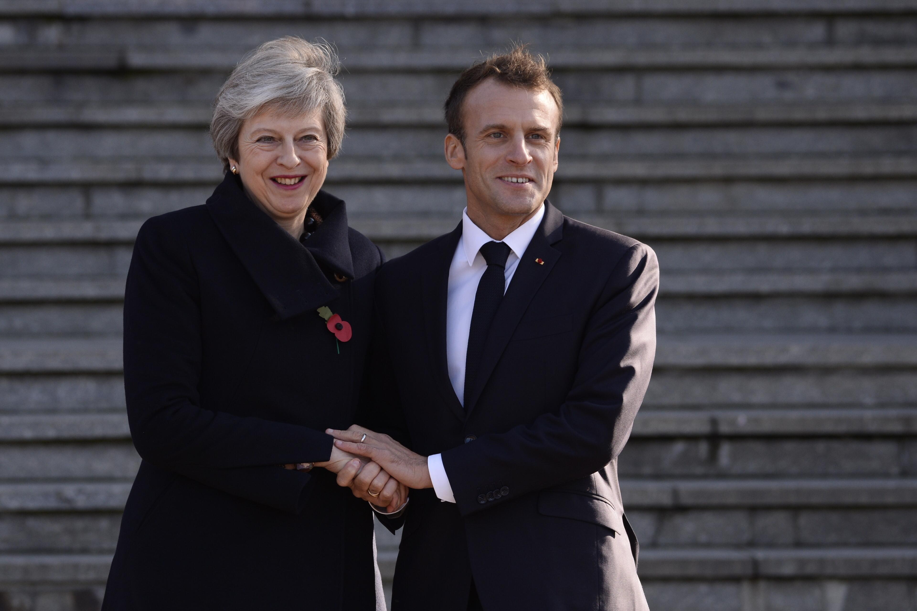 Theresa May meets with French President Emmanuel Macron. Credit: PA