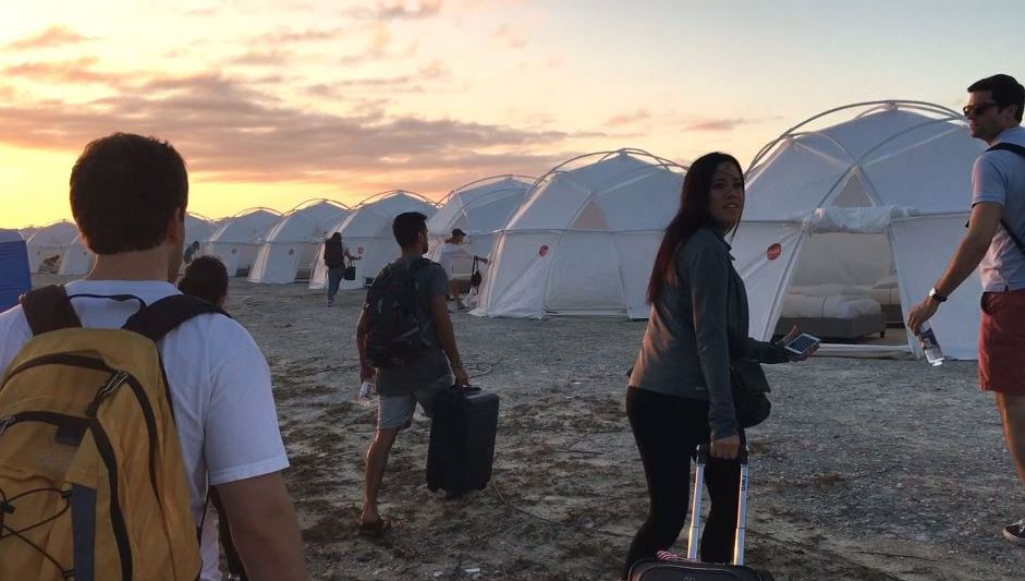 Festival-goers turned up to find that their 'luxury' accommodation was a water-logged tent. Credit: Netflix