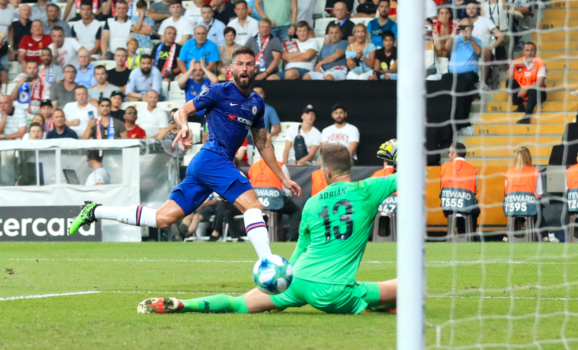 Olivier Giroud slid Chelsea into the lead in the 36th minute at Vodafone Park