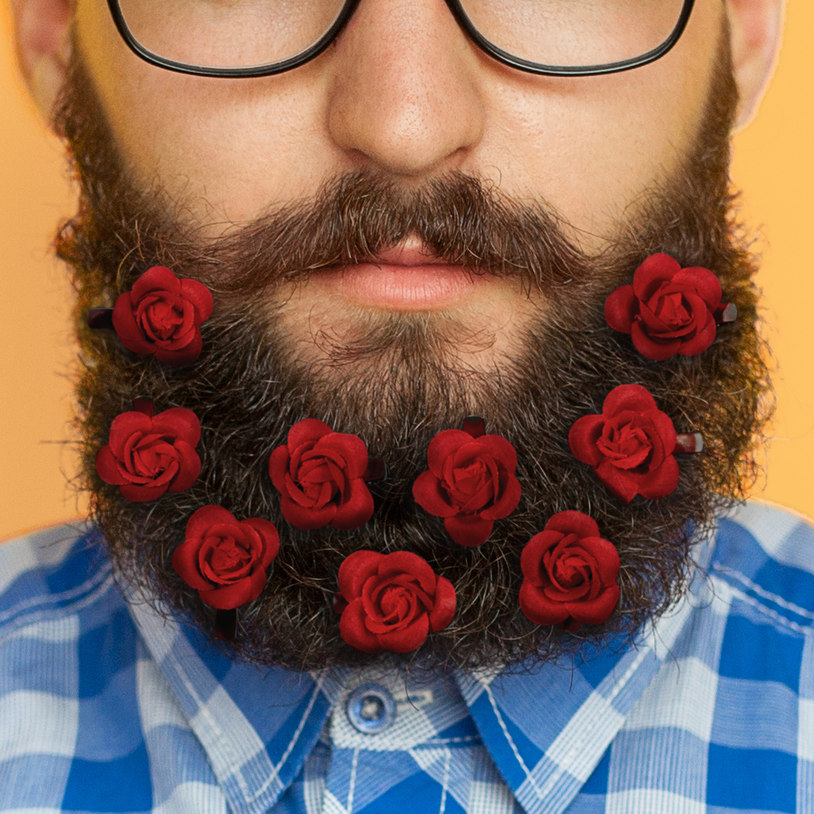 The beard bouquet is the perfect accessory for Valentine's day. (Credit: Firebox)