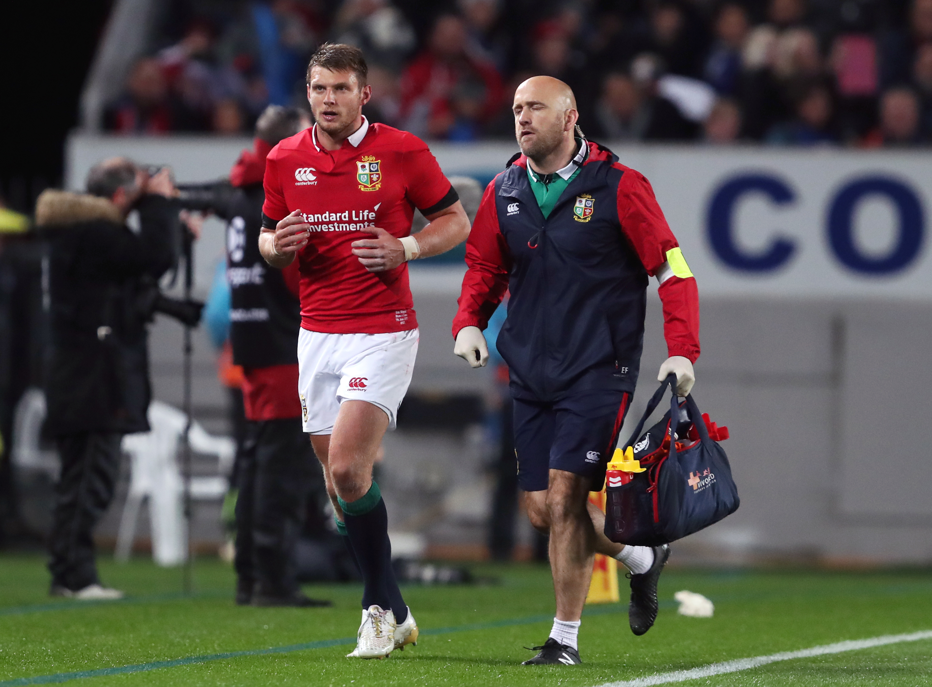Dan Biggar goes for an HIA during the 2017 Lions Tour. Image: PA Images