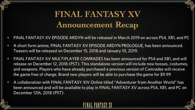 Final Fantasy XV's latest updates. Credit: Square Enix