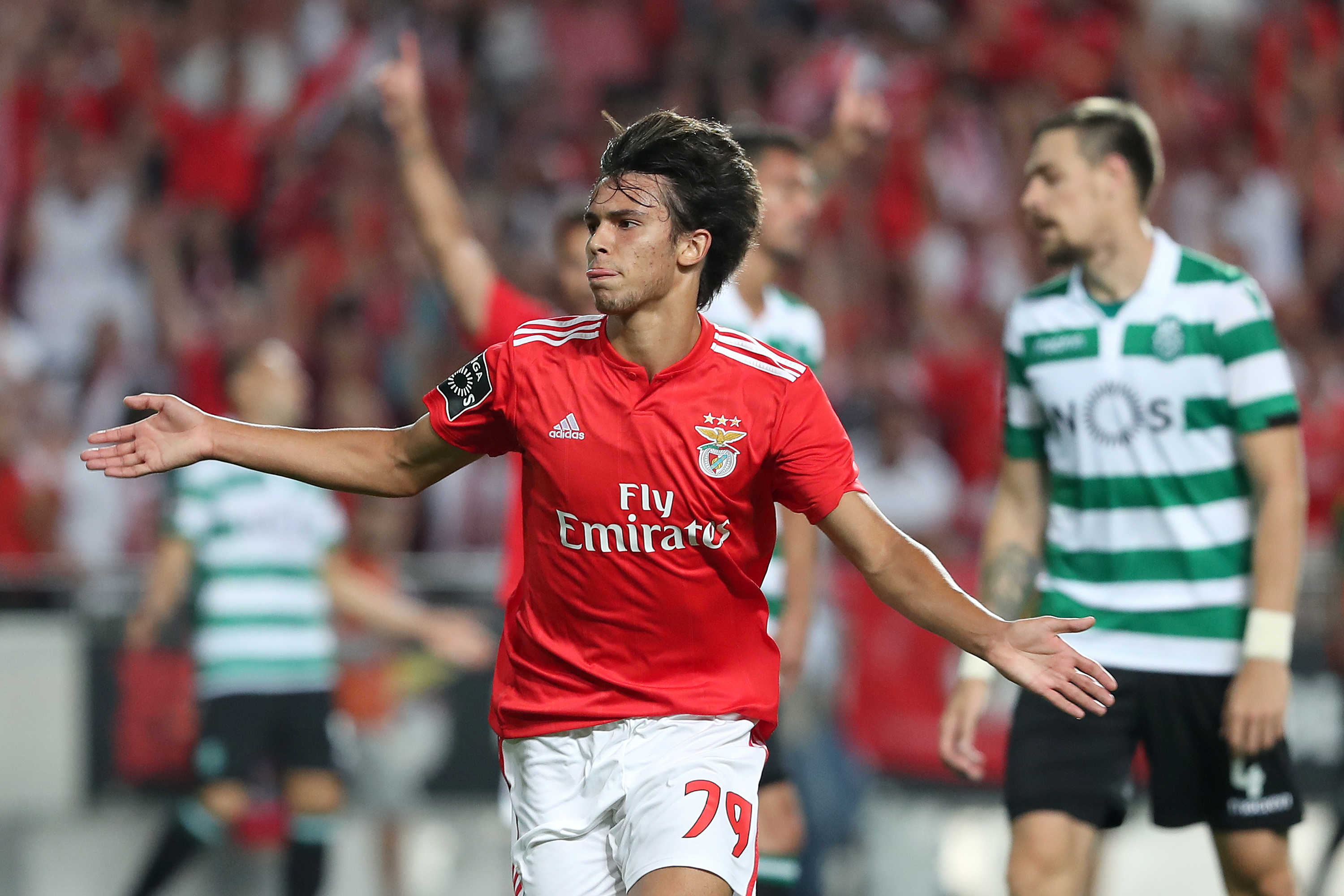 Felix celebrates his goal against Sporting. Image: PA Images