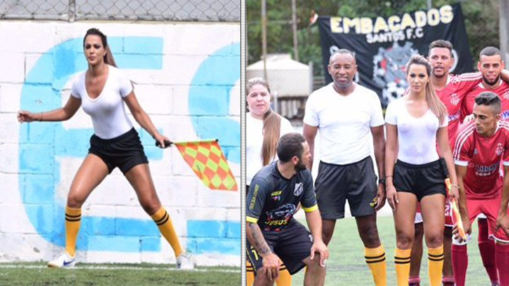 A Brazilian Lineswoman Takes Internet By Storm After Wet T-Shirt Display