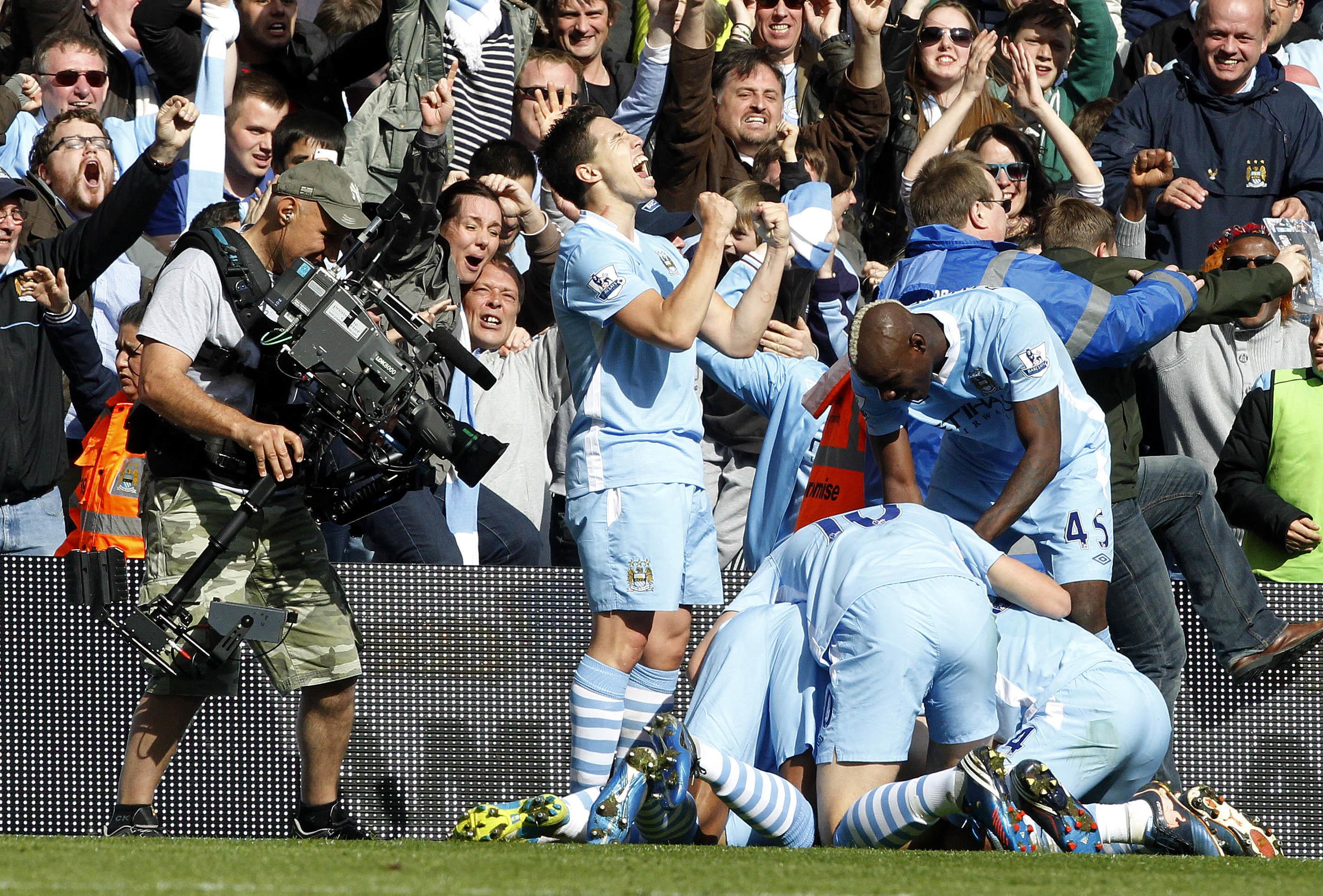 Scenes after Aguero's last minute goal. Image: PA Images