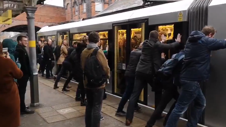 Passengers had to rock the tram to one side to get it moving. Credit: LADbible.