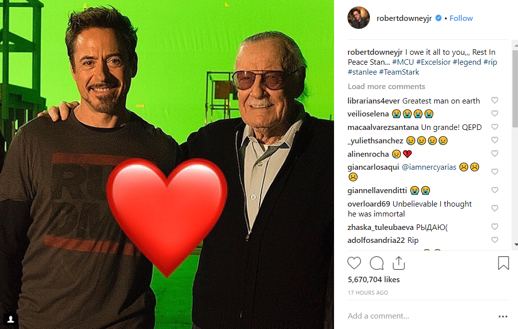 Robert Downey Jr paid a touching tribute to Stan Lee on Instagram. Credit: Robert Downey Jr
