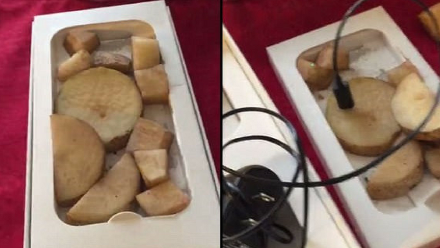 Woman Picks Up 'Bargain' iPhone 6, Turns Out To Be 11 Potatoes