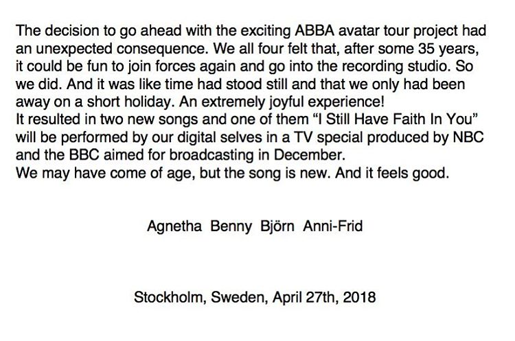 ABBA records 2 songs, first new material in 35 years
