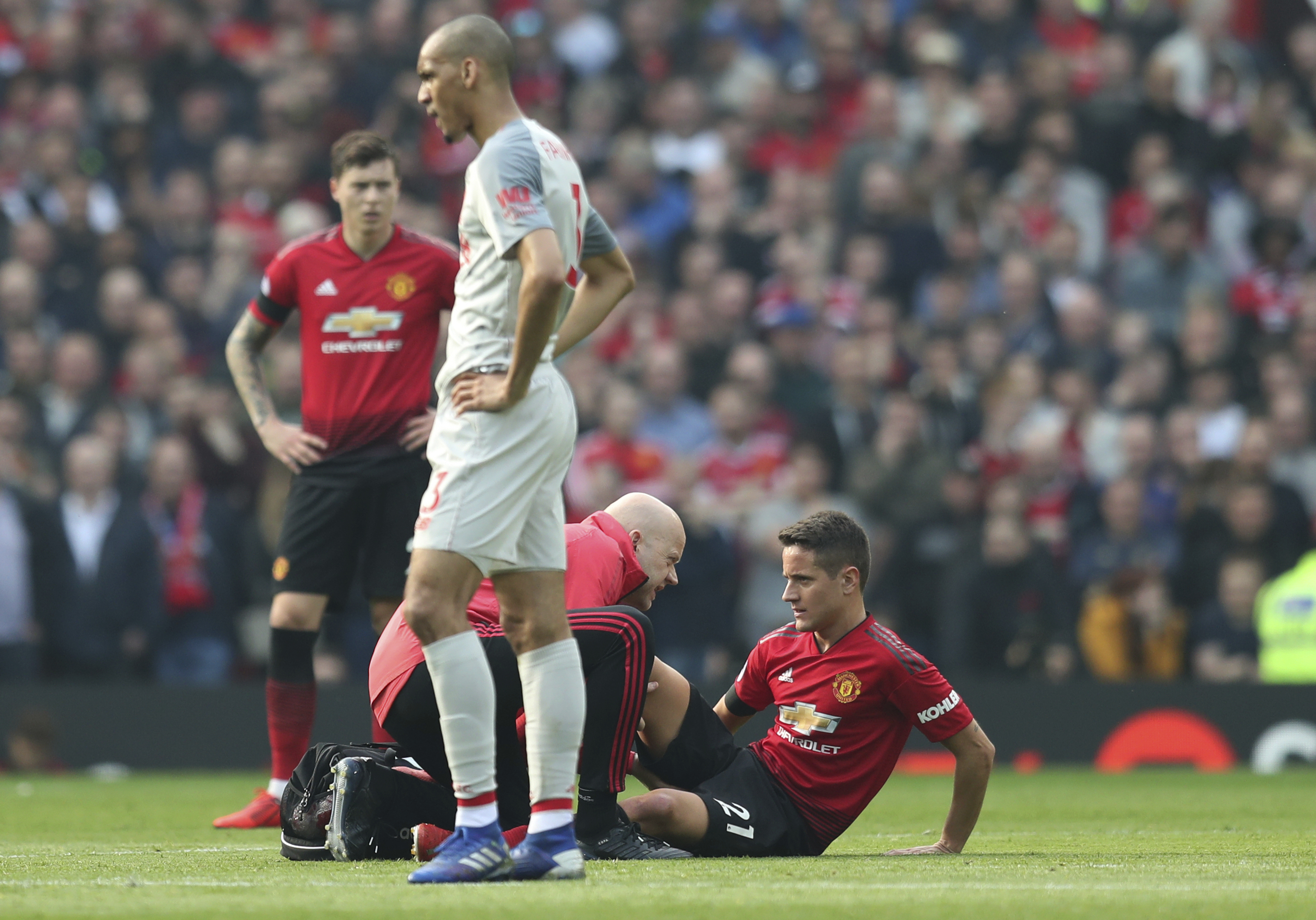 Lingard (above) gets treatment and Herrera makes the physio the busiest man in Old Trafford. Image: PA Images