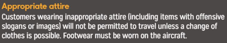The wording for the clothing policy within the in-flight magazine. Credit: Thomas Cook