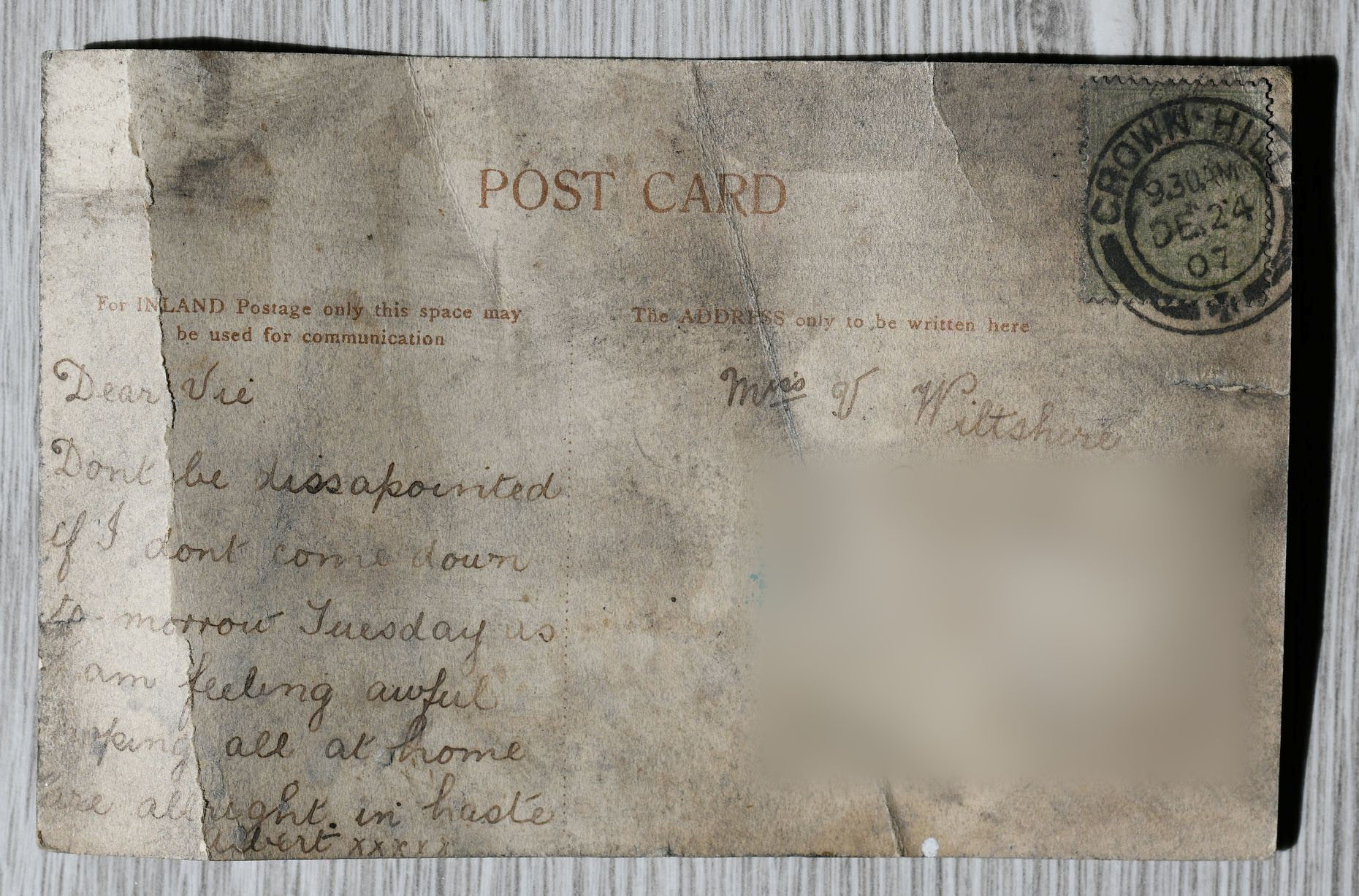 The postcard was addressed to a 'Miss Wiltshire'. Credit: SWNS