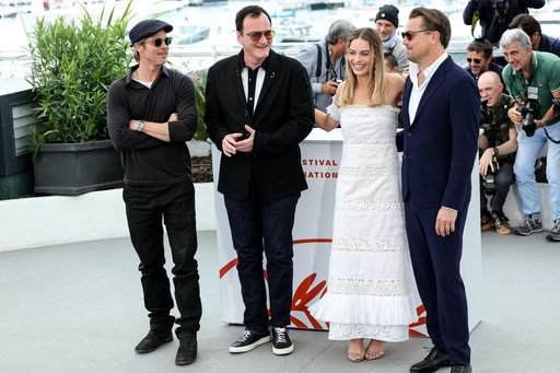 Brad Pitt, Quentin Tarantino, Margot Robbie and Leonardo DiCaprio at the Cannes Film Festival. Credit: PA