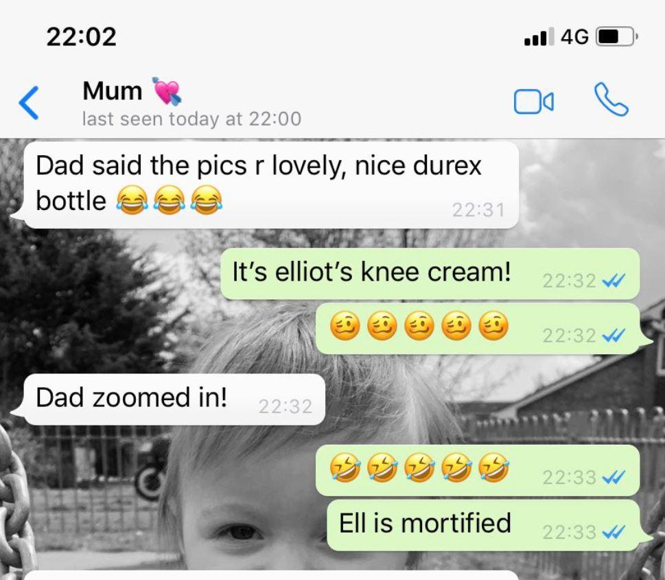 Kelsey's mum text her saying 'nice durex bottle' awks. Credit: LADbible