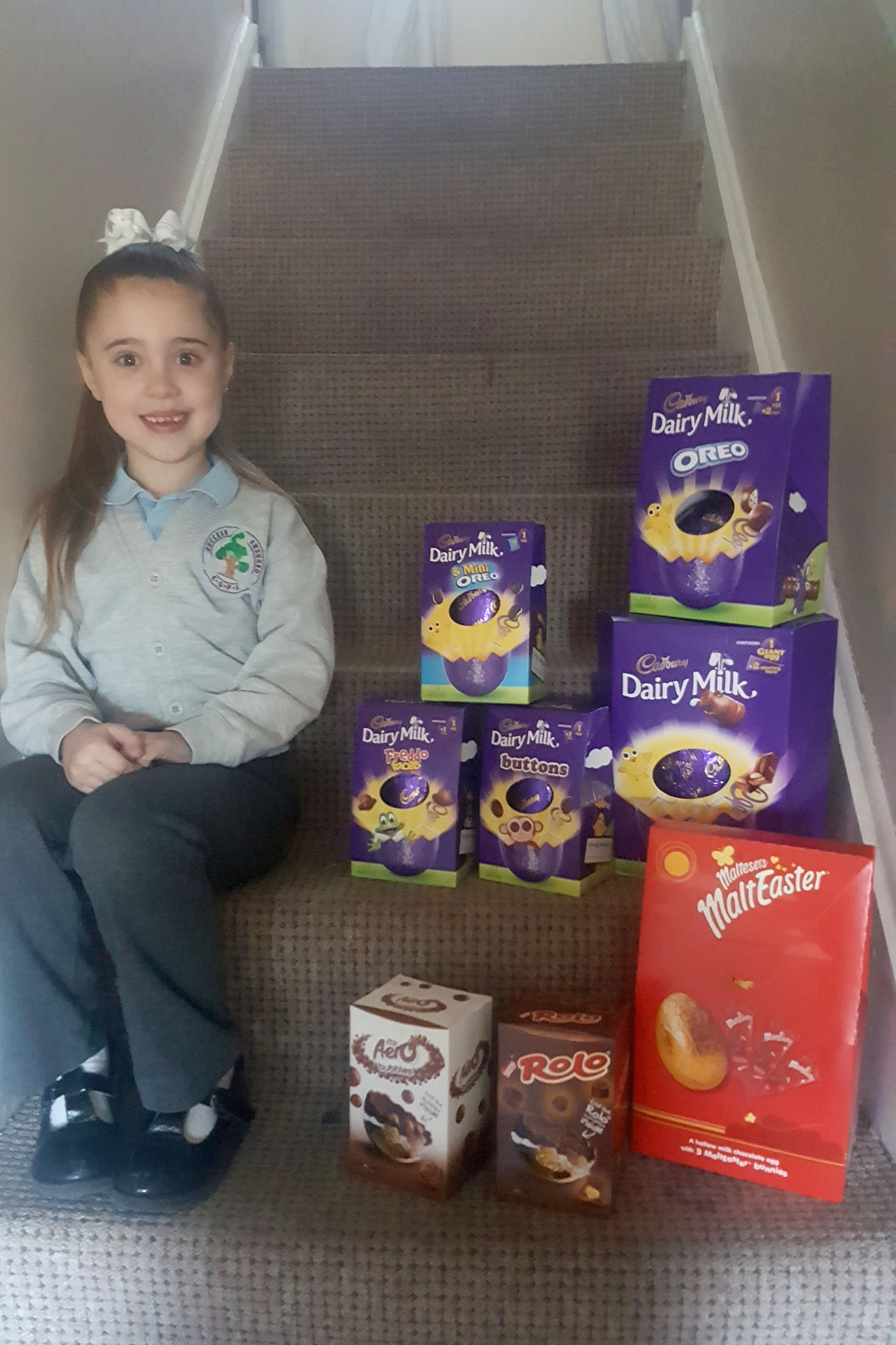 The schoolgirl has collected more than 1000 Easter eggs in three years. Credit: Caters