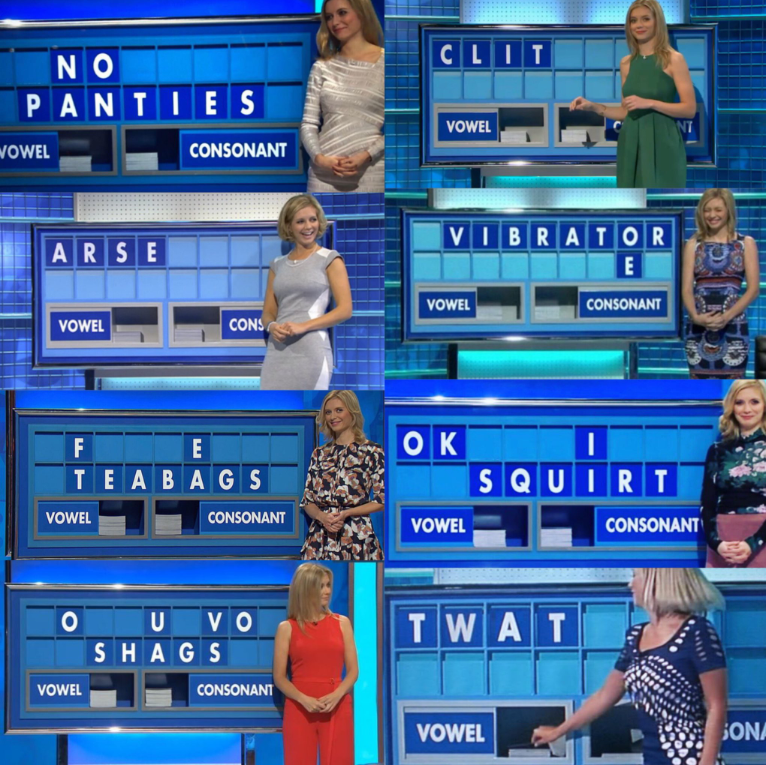 The 'Countdown' mathematician couldn't keep a straight face with some of these crude words. Credit: Twitter/Channel 4