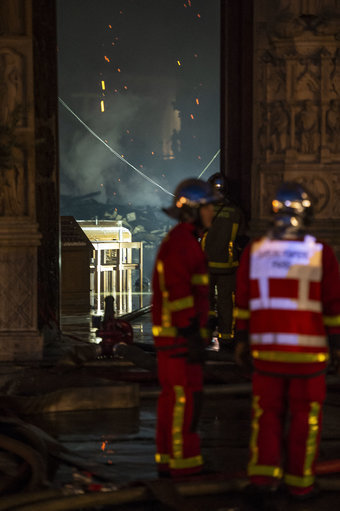 View from inside the Security area with the firefighters during the Notre Dame Cathedral. Credit: PA