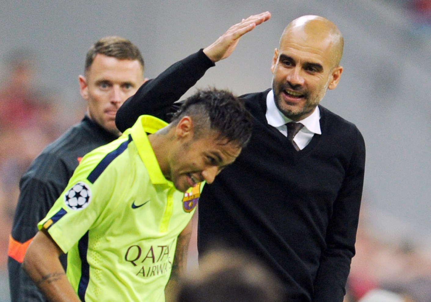 Then-Bayern boss Guardiola jokes with Neymar. Image PA