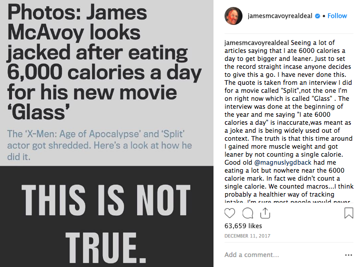 James McAvoy explained how he bulked up for role in 'Glass'Credit: Instagram/James McAvoy