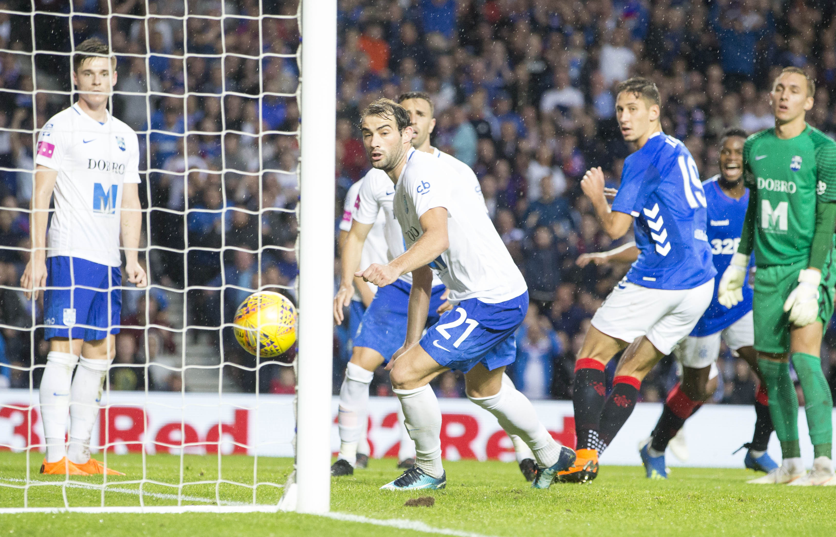 Katic watches on as he scores his first Rangers goal. Image: PA Images