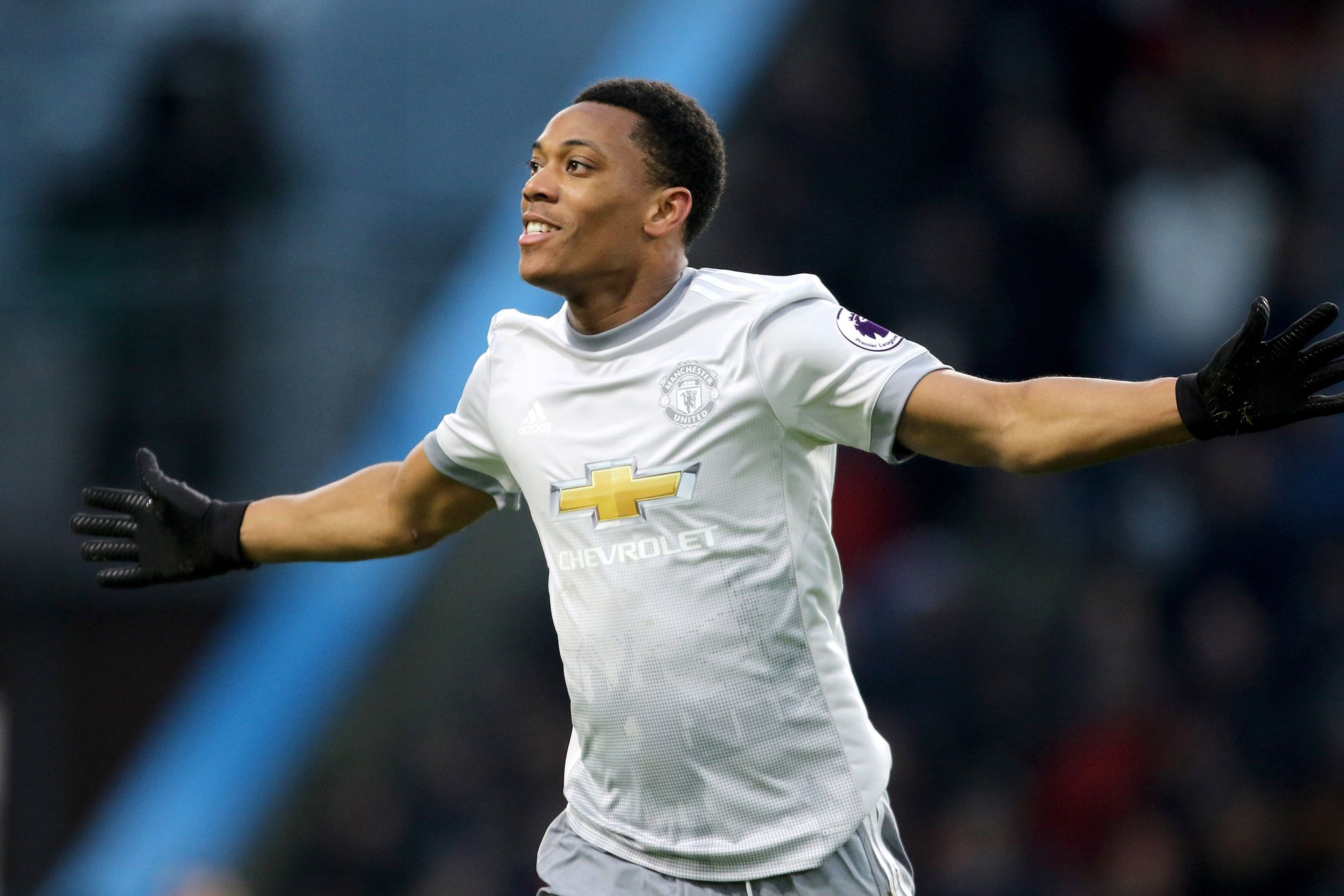 Martial celebrates scoring a goal for United. Image PA