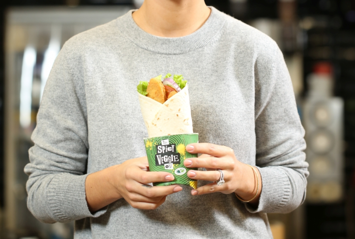 The wrap contains a red pesto goujon, tomato ketchup and shredded lettuce, all tucked up in a soft, toasted tortilla. Credit: McDonald's