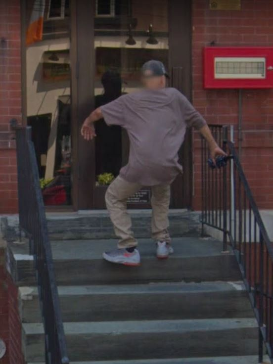 Google Maps: Man Falling Down Stairs Backwards Captured On