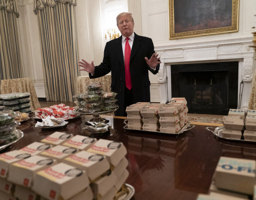 The president served up fast food on silver platters at the White House. Credit: PA