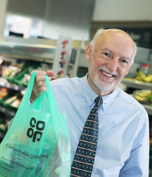 Co-op To Roll Out Compostable Carriers And Scrap Single-Use Plastic. Credit: Co-op