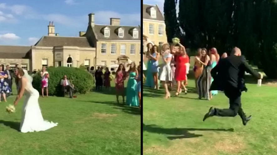 Boyfriend Runs Away After His Girlfriend Catches A Bride's Bouquet
