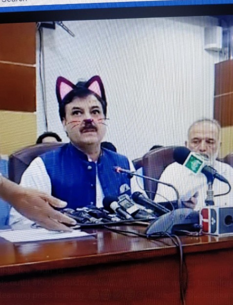 RegionaRegional minister Shaukat Yousafzai was taking part in a press conference. Credit: Facebook/ Pakistan Tehreek-e-Insaf Party