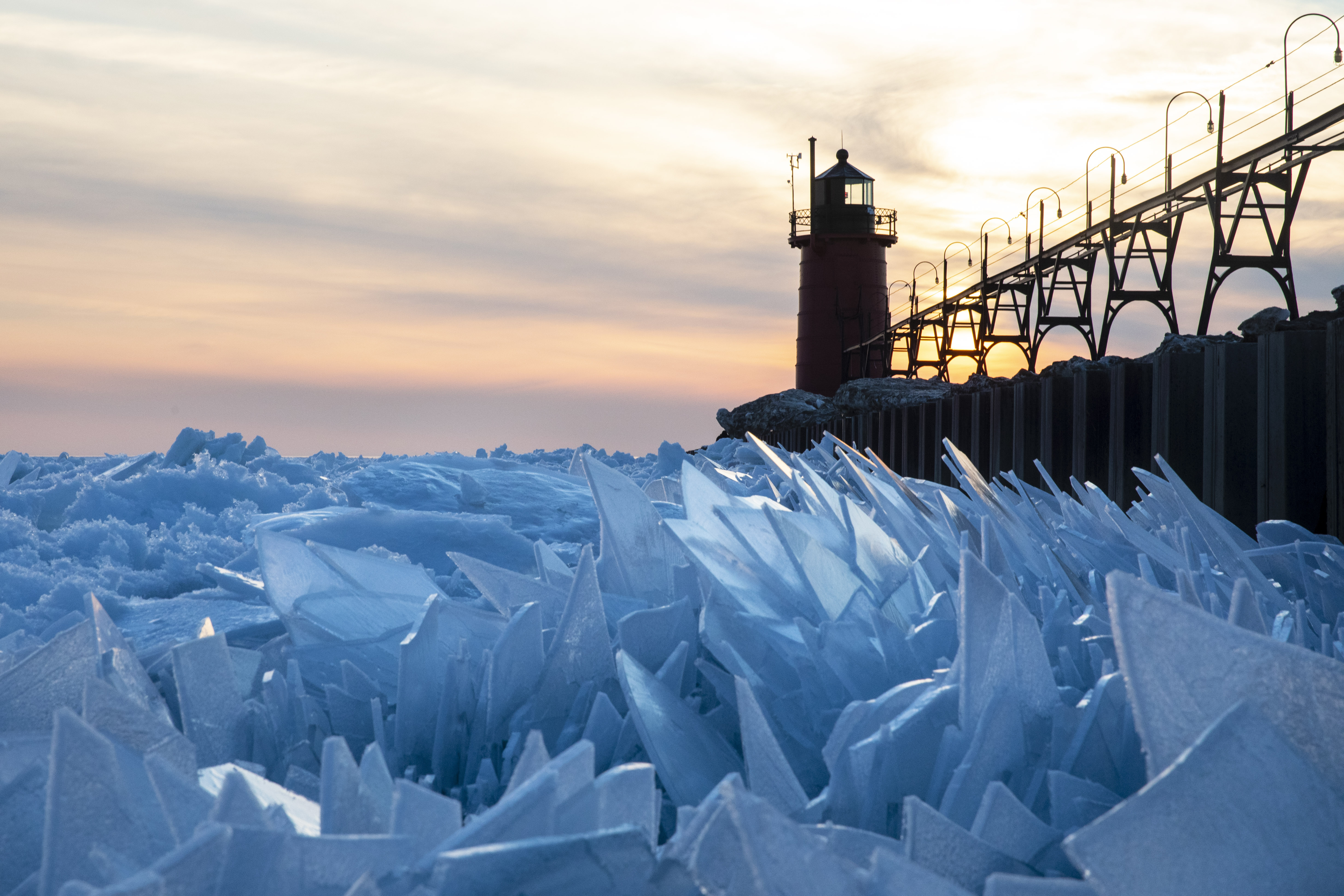 Lake Michigan Covered In Beautiful Ice Shards As Winter Ice
