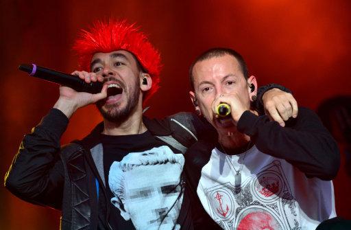 Mike Shinoda and Chester Bennington. Credit: PA