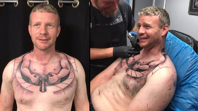 Trucker Gets 'Bizarre' Tattoo Of Tiny Man Driving His Body