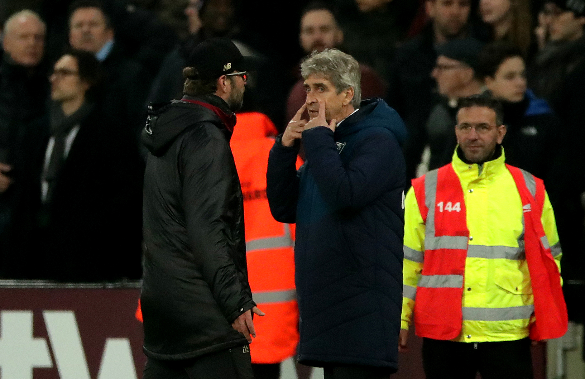 Pellegrini and Klopp exchanged words at full time. Image: PA Images