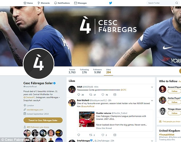 Cesc Fabregas backtracks on Twitter activity to bid farewell to Antonio Conte