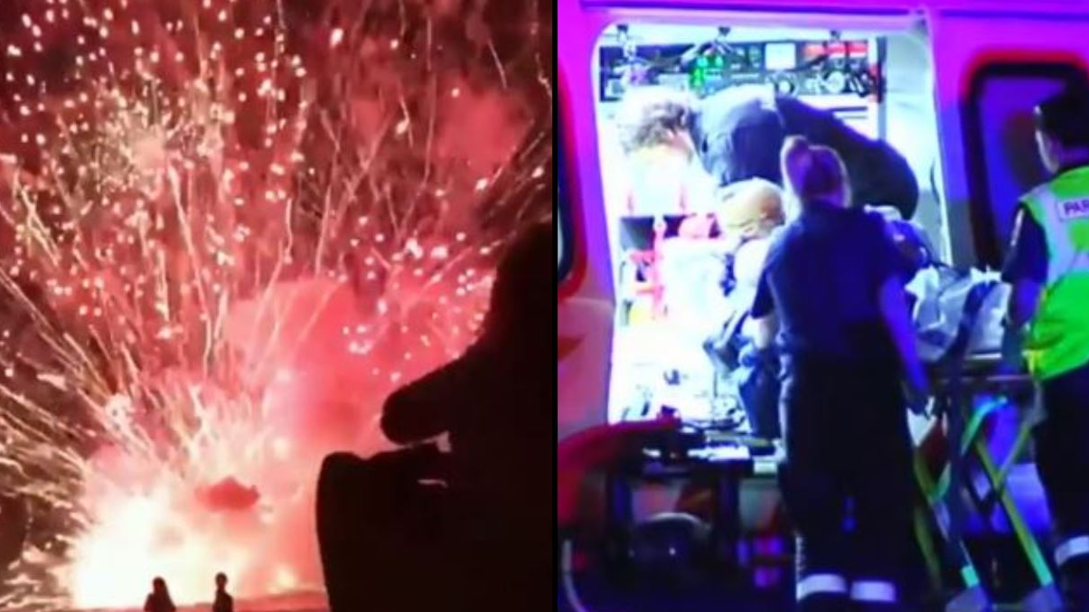 Barge Catches Fire During New Year's Eve Celebrations