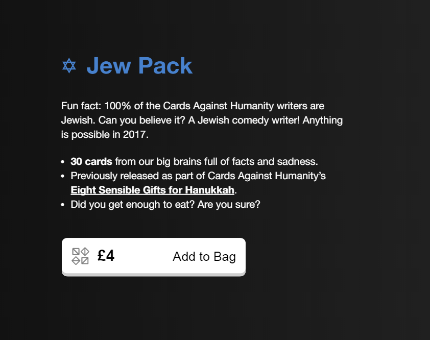 Image of: Reddit Credit Cards Against Humanity Ladbible Antisemitic Cards Of Humanity Expansion Pack Removed From Target