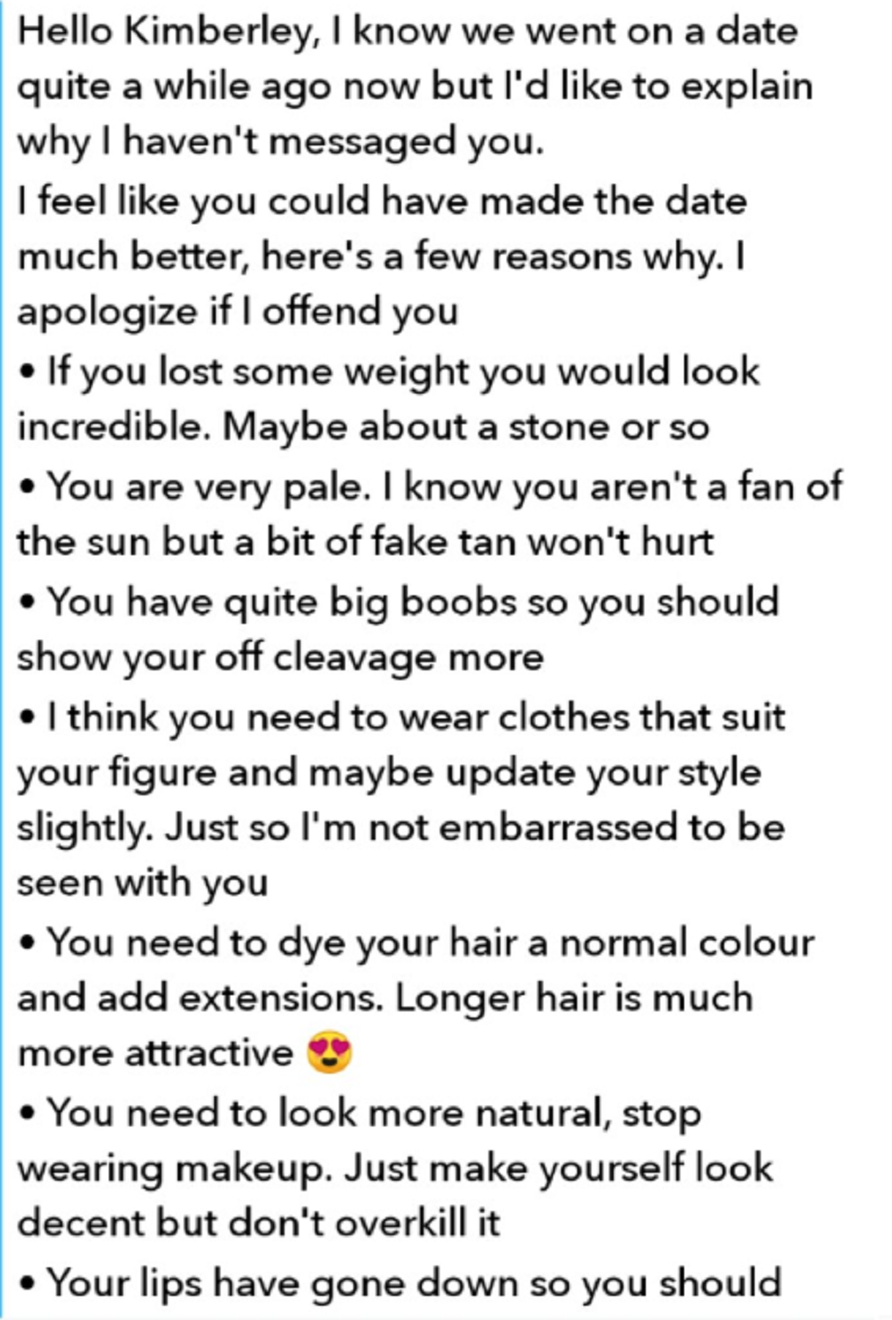 An extract from Wayne Kerr's messages to Kimberley. Credit: Kimberley Latham-Hawkesford