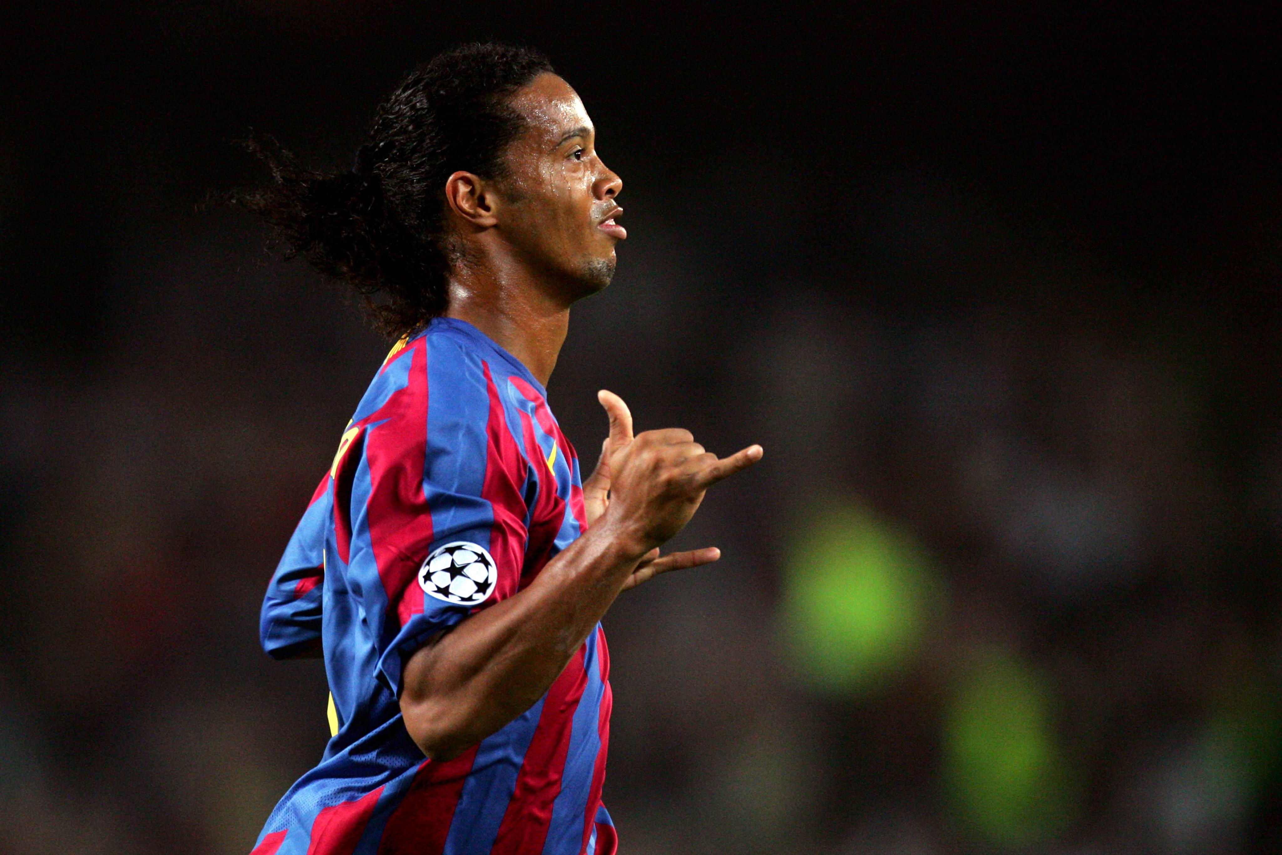 Ronaldinho doing bits. Image: PA